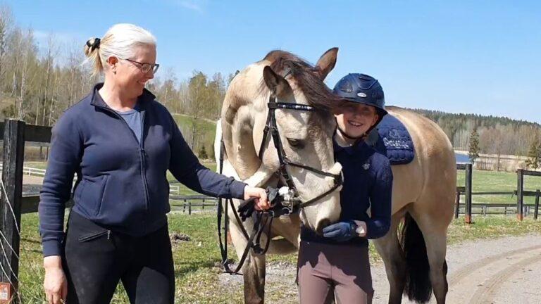 Valmentaja hevosen ja tytön kanssa